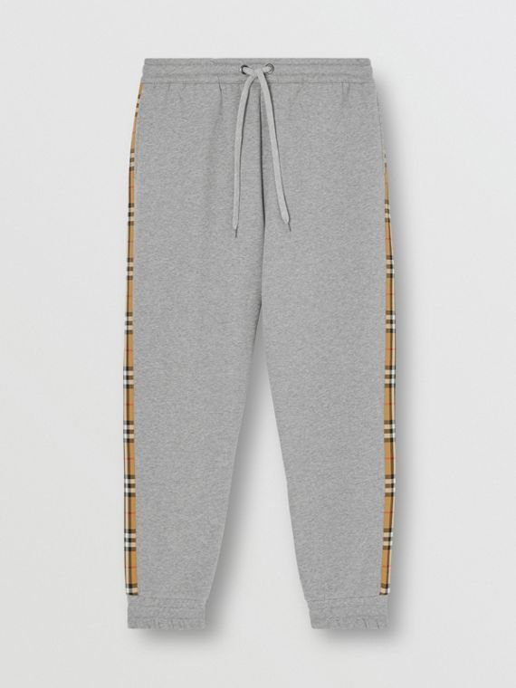 Vintage Check Panel Jersey Trackpants in Pale Grey Melange