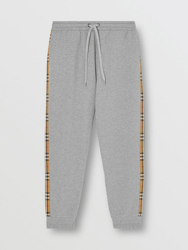 Vintage Check Panel Jersey Trackpants in Pale Grey Melange - Men | Burberry - cell image 3
