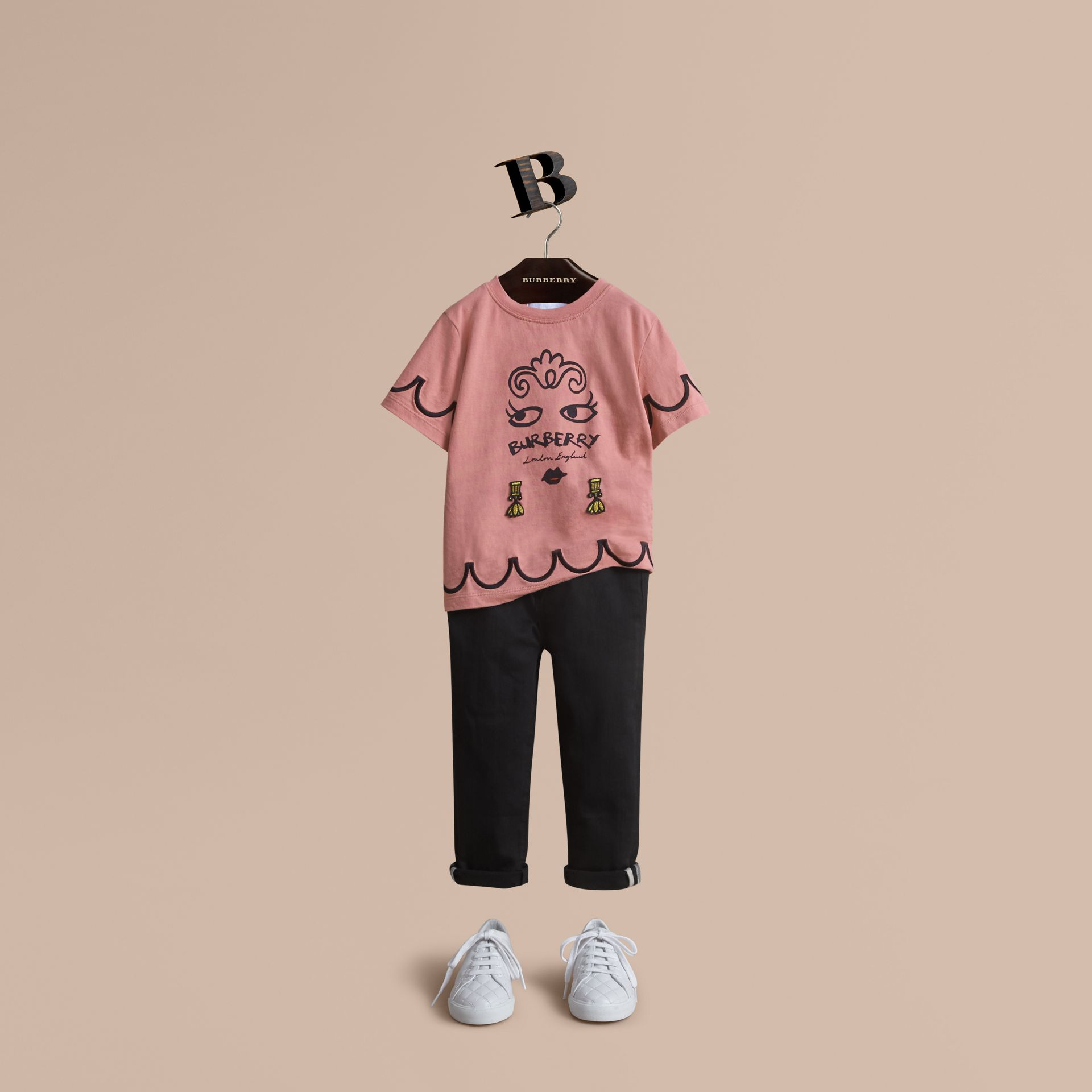 Lady Print Cotton T-shirt in Apricot Pink - Girl | Burberry Australia - gallery image 1