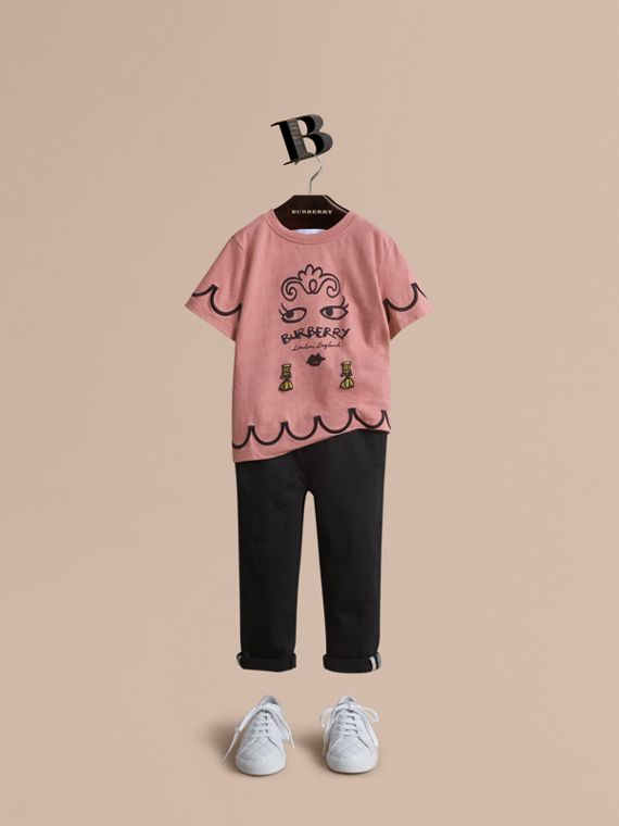 Lady Print Cotton T-shirt in Apricot Pink - Girl | Burberry