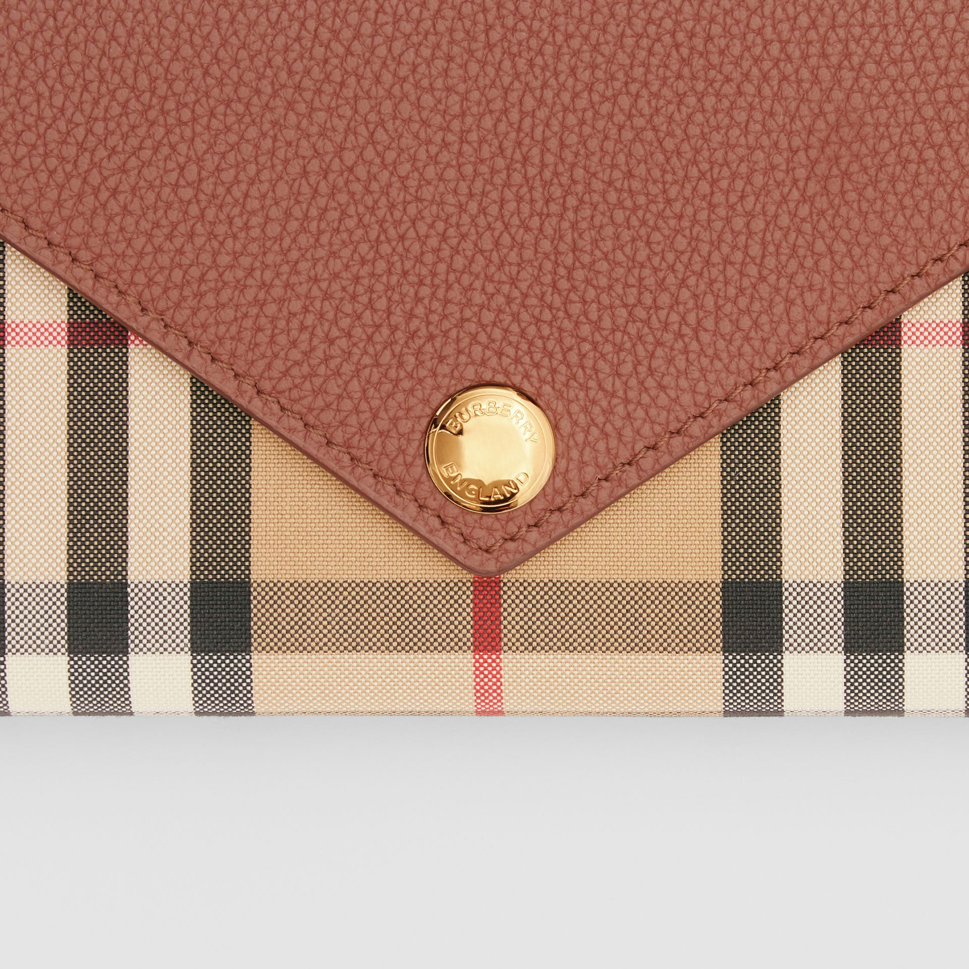 Vintage Check and Leather Continental Wallet in Tan - Women | Burberry United Kingdom - gallery image 1