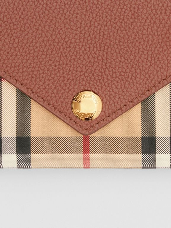 Vintage Check and Leather Continental Wallet in Tan - Women | Burberry - cell image 1