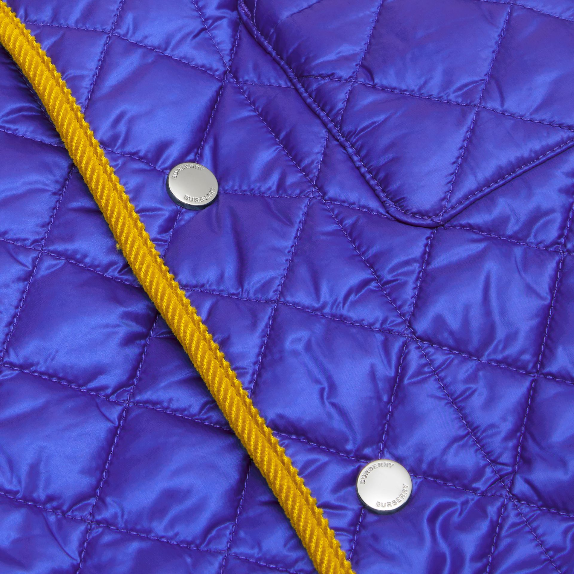 Corduroy Trim Lightweight Diamond Quilted Jacket in Dark Cobalt Blue | Burberry - gallery image 1