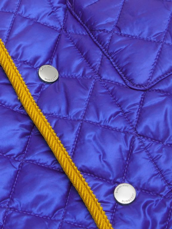 Corduroy Trim Lightweight Diamond Quilted Jacket in Dark Cobalt Blue | Burberry - cell image 1