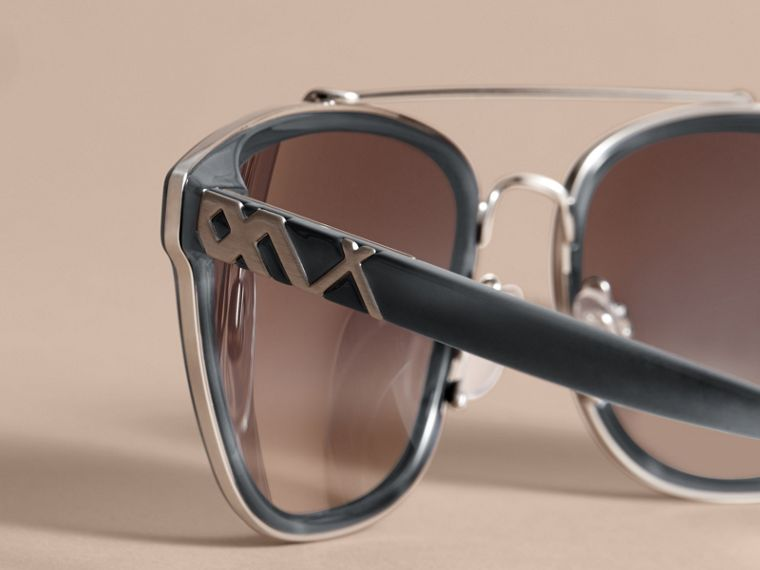 Check Detail Square Frame Sunglasses Blue - cell image 1