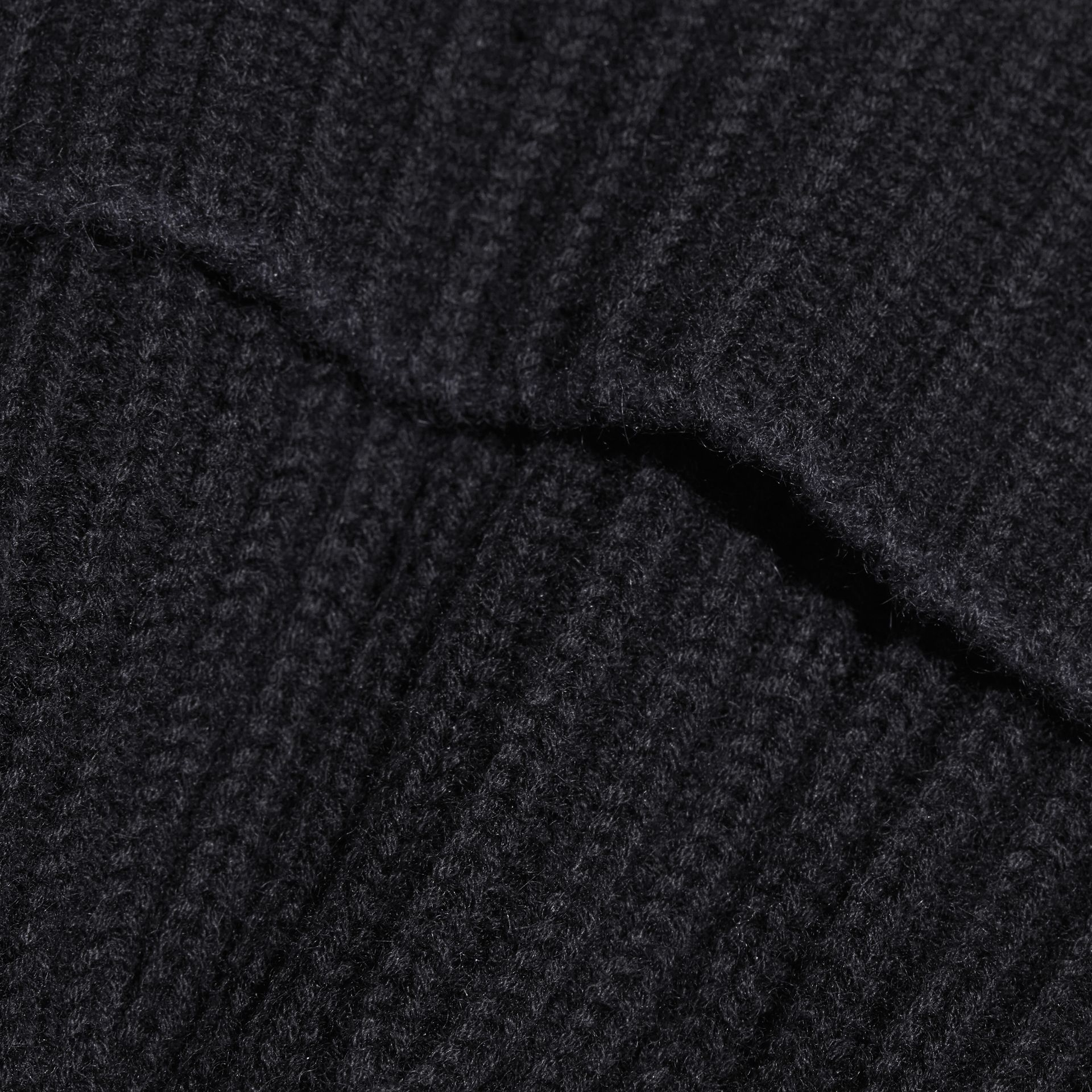 Black/dark navy Ribbed Cashmere Tipped Beanie - gallery image 3