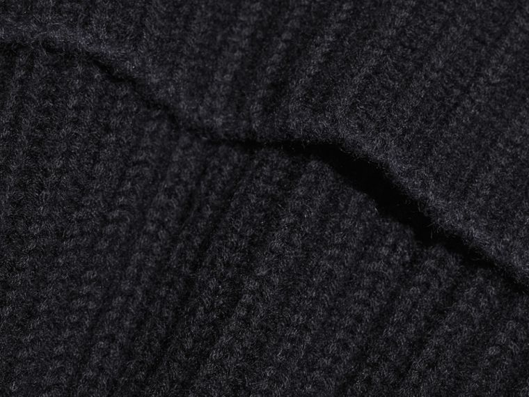 Black/dark navy Ribbed Cashmere Tipped Beanie - cell image 2