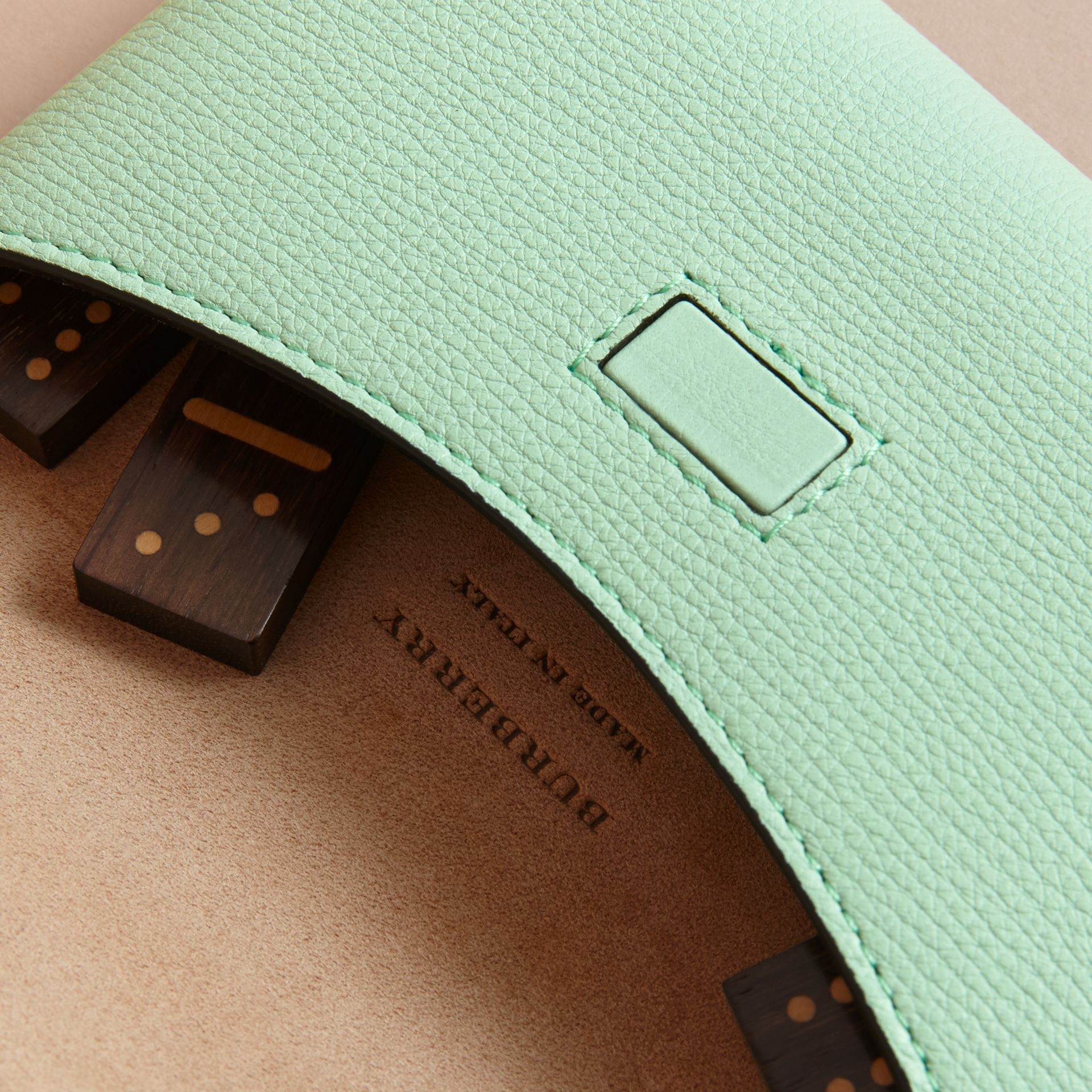 Wooden Domino Set with Grainy Leather Case in Light Mint - Women | Burberry Australia - gallery image 2