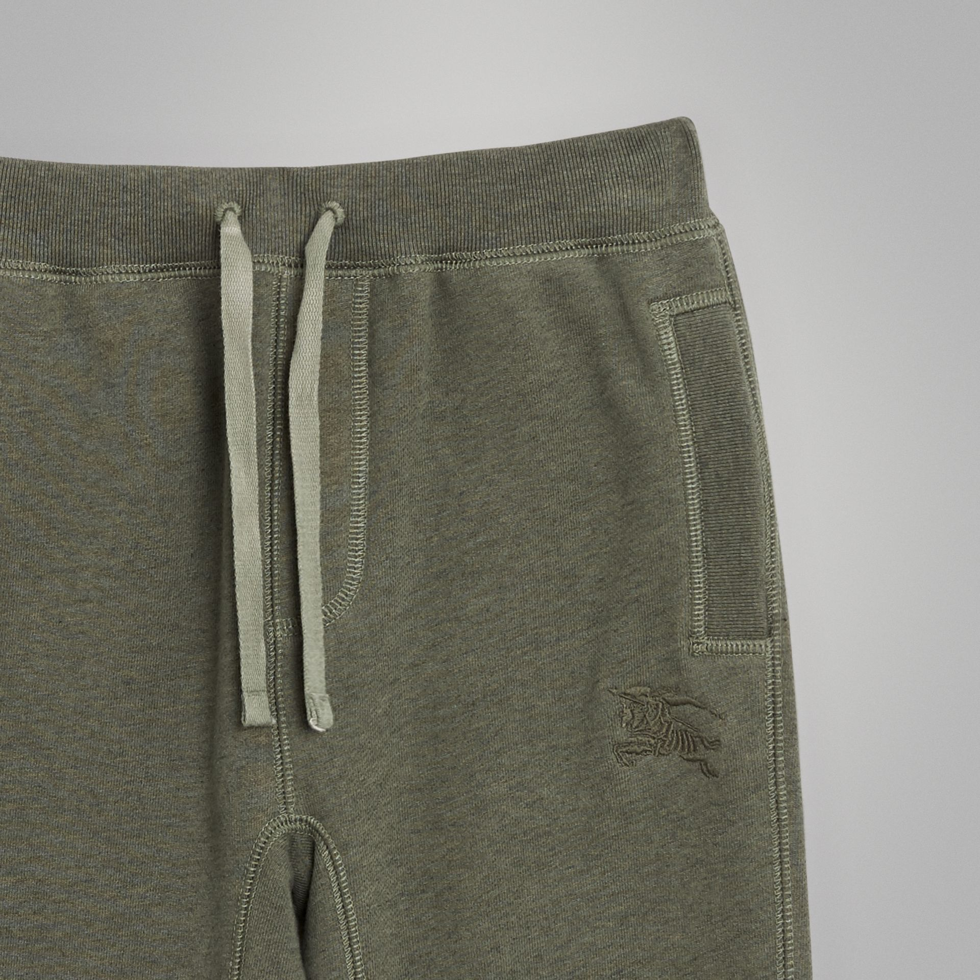 Cotton Jersey Trackpants in Olive Melange | Burberry - gallery image 4