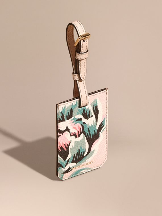 Porte-étiquette en cuir grainé avec imprimé à pivoines roses Naturel/vert Émeraude