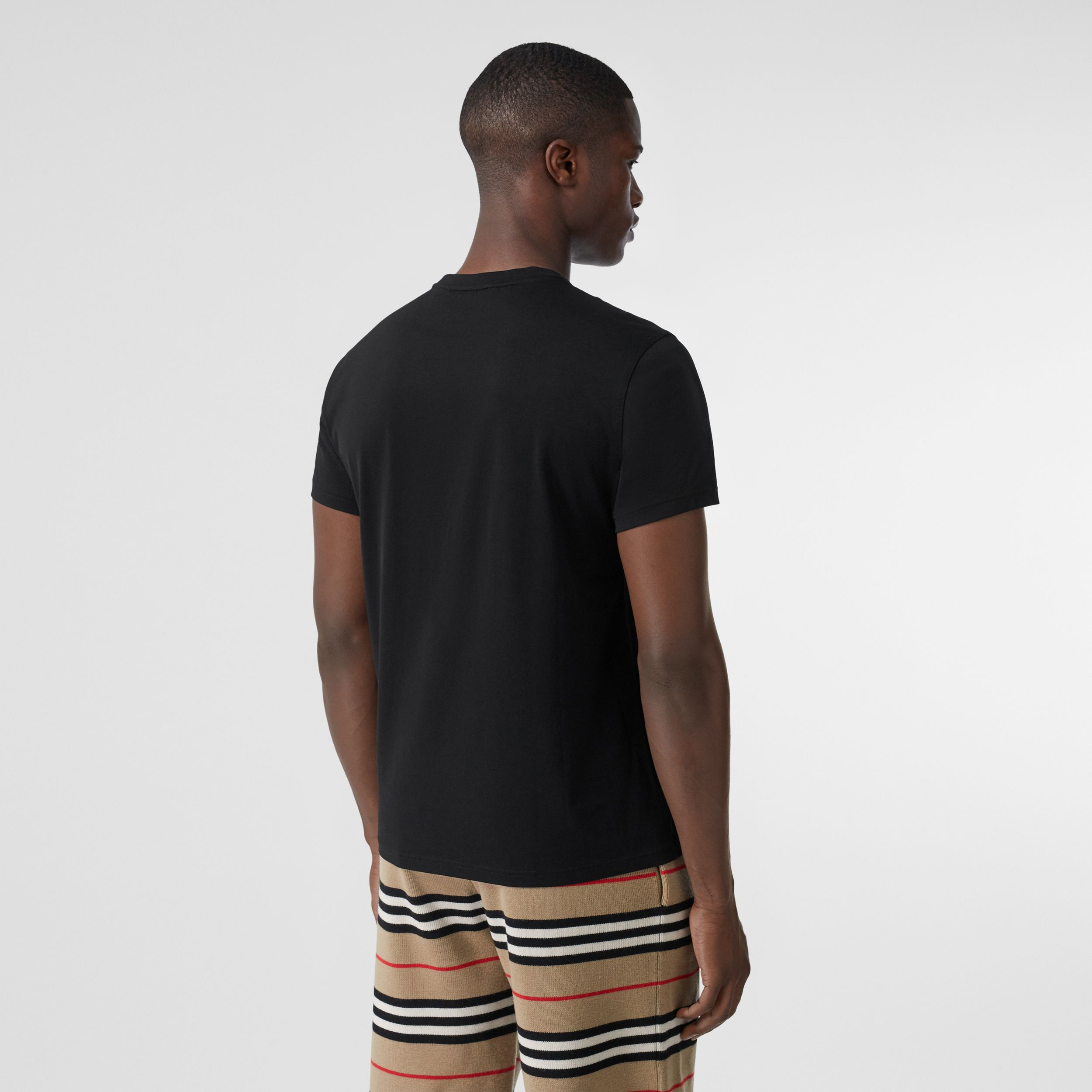 Monogram Motif Cotton T-shirt in Black - Men | Burberry - 3