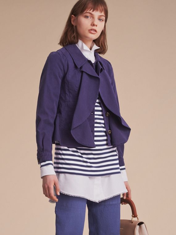 Draped Cotton Utility Jacket