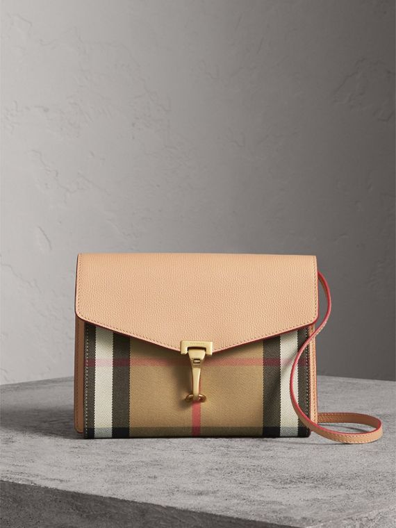 Small Leather and House Check Crossbody Bag in Pale Apricot