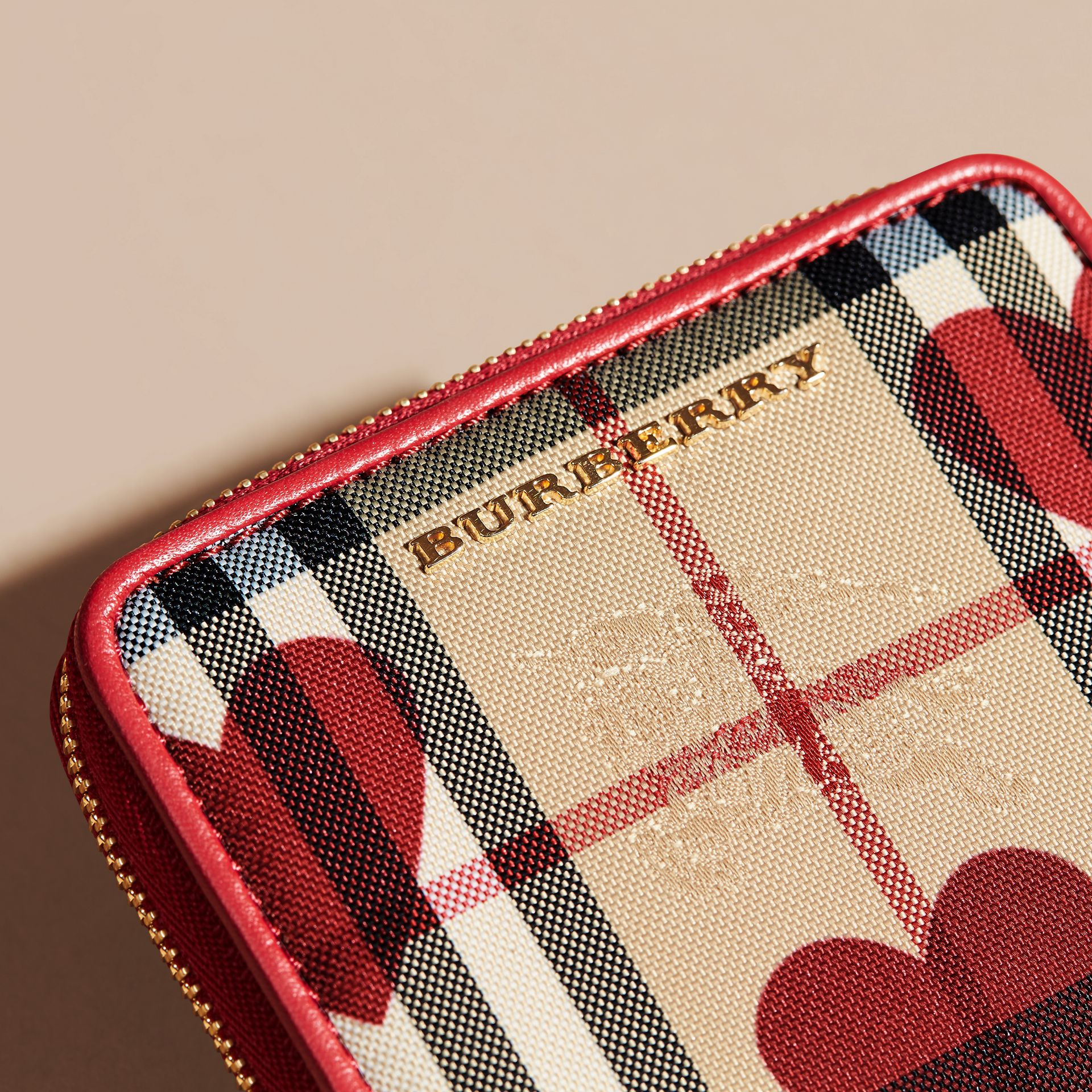Parade red Heart Print Horseferry Check Small Ziparound Wallet - gallery image 2