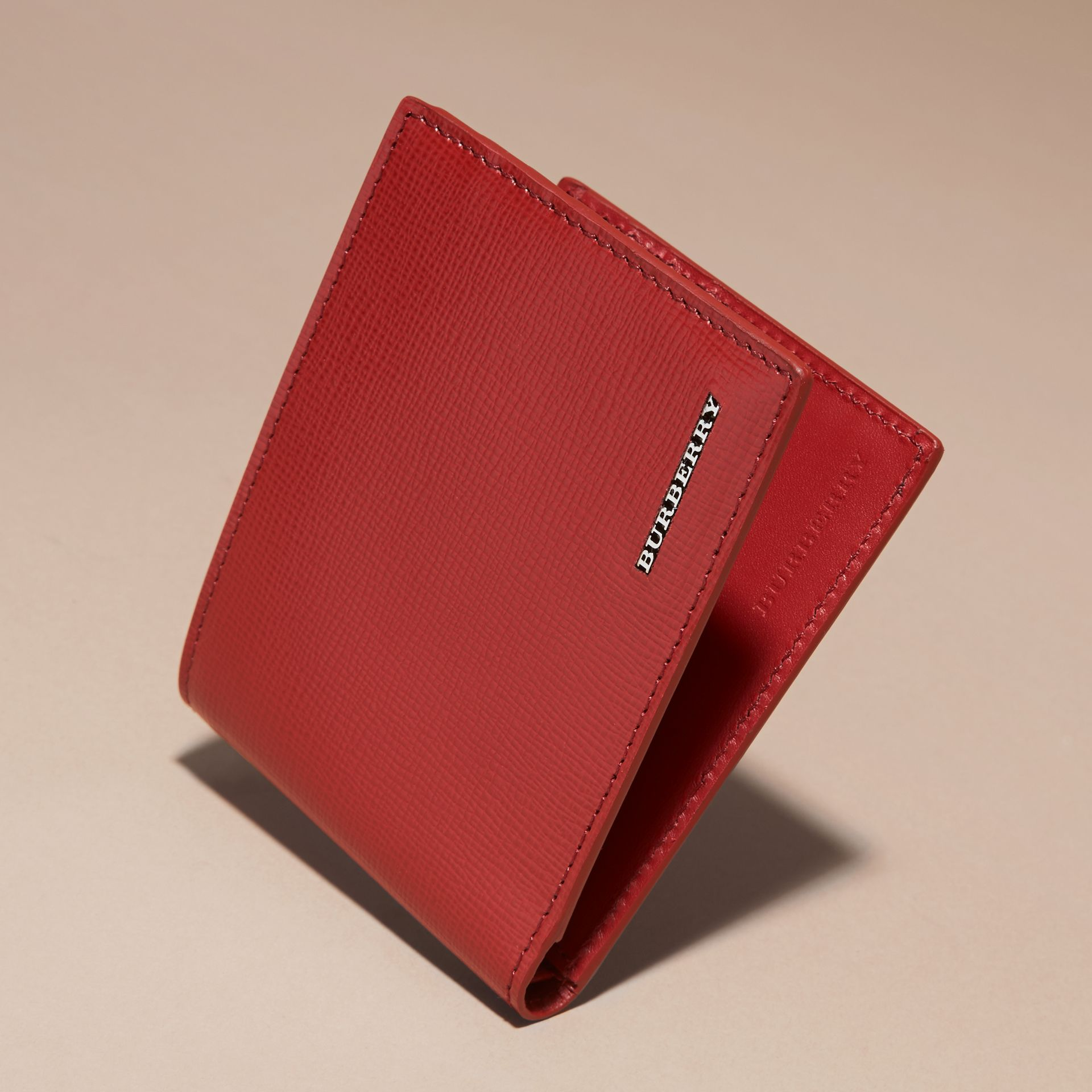 Dark military red London Leather Folding Wallet - gallery image 3