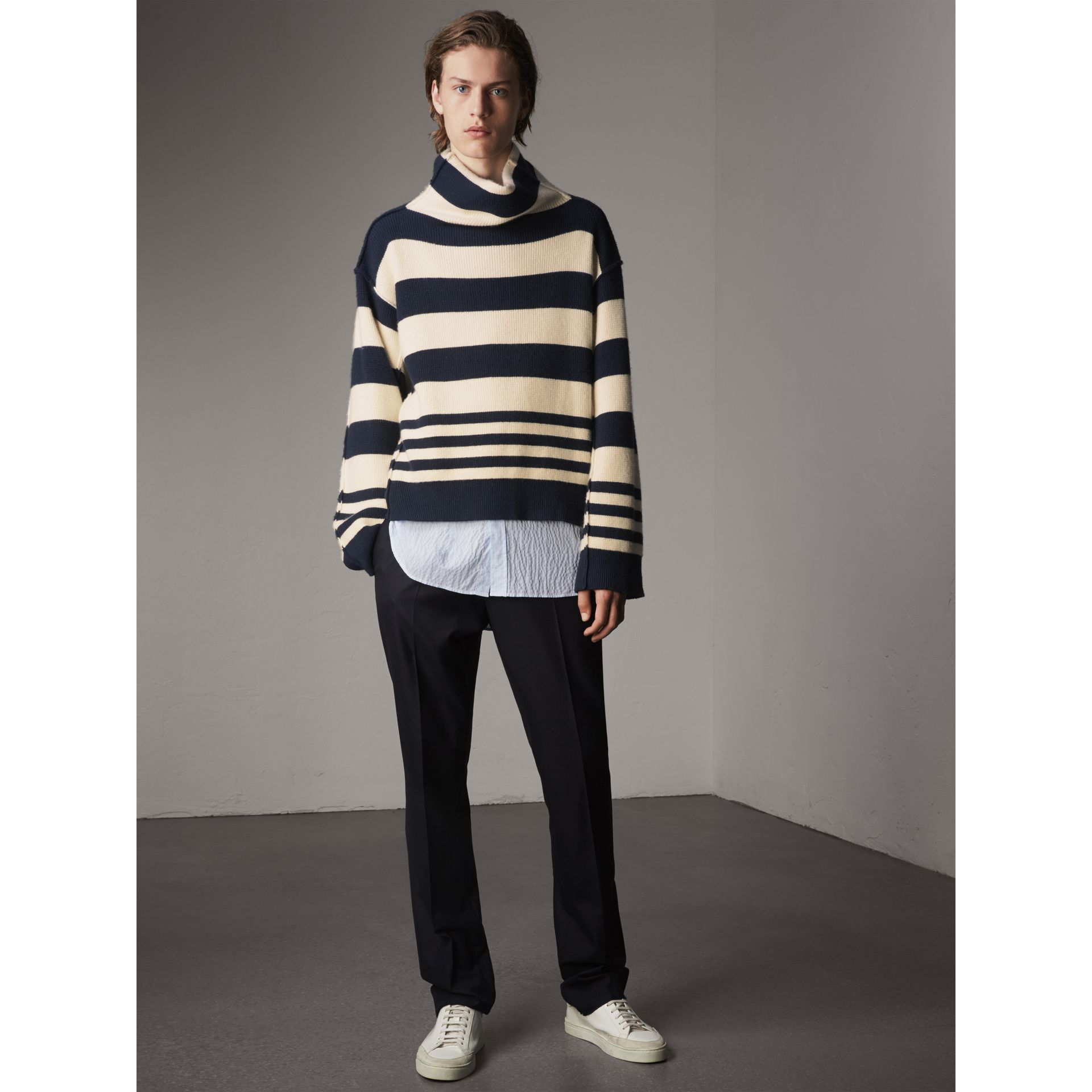 Striped Knitted Cashmere Roll-neck Sweater - Men | Burberry Australia - gallery image 1
