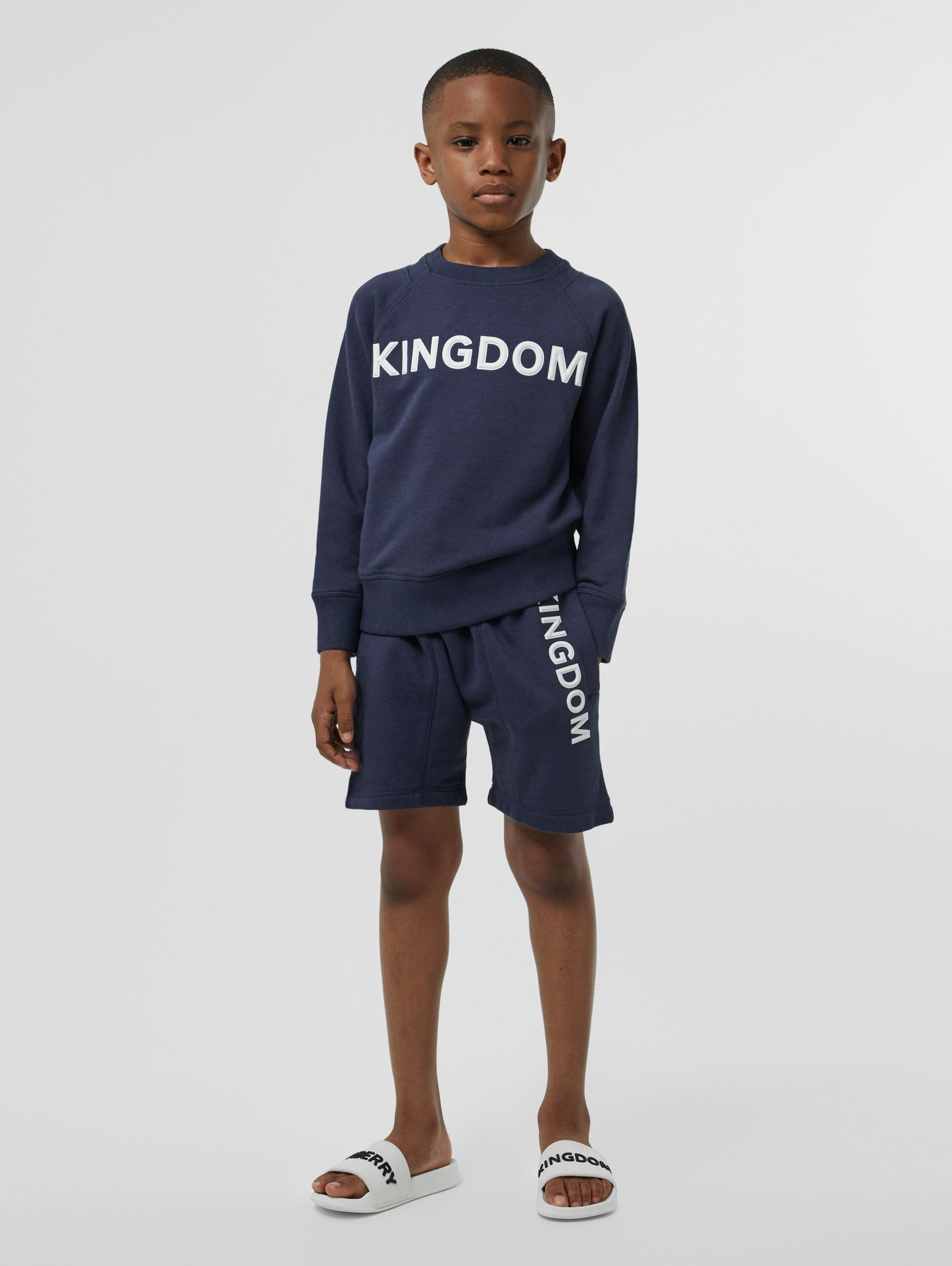 Kingdom Motif Cotton Drawcord Shorts in Slate Blue Melange | Burberry - 3