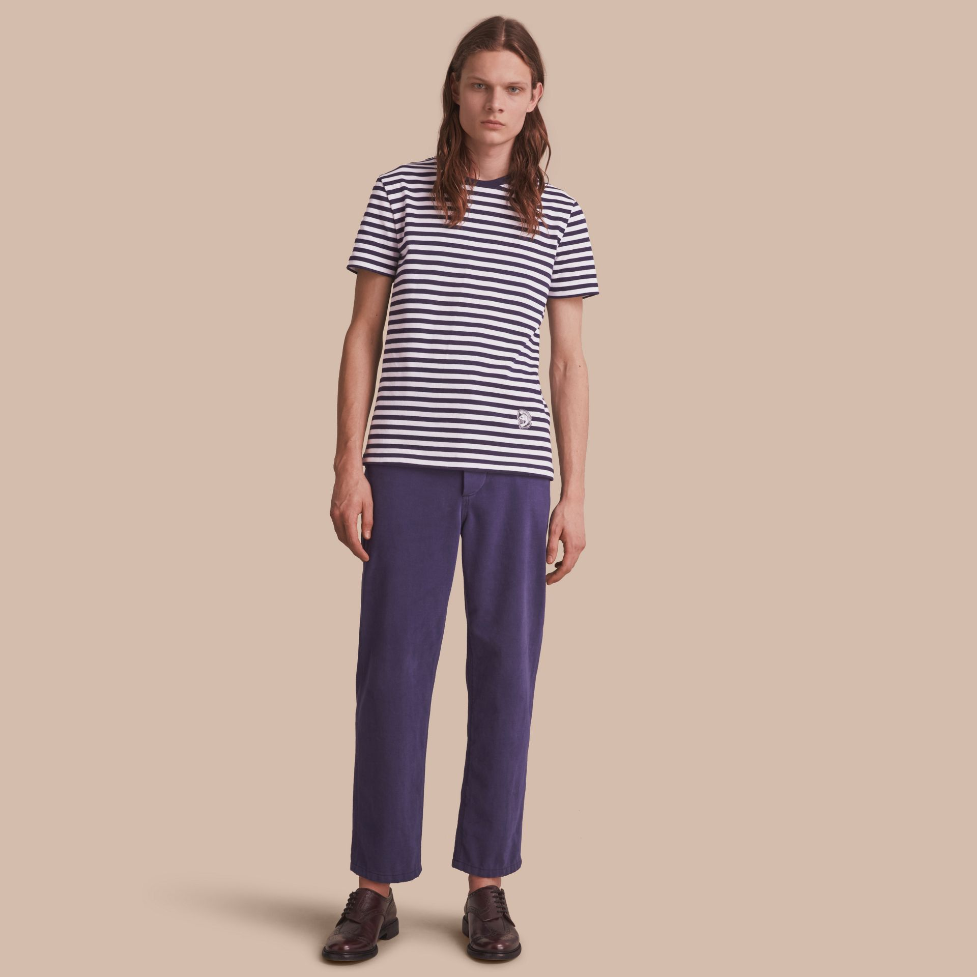 Breton Stripe Cotton T-shirt with Pallas Helmet Motif in Navy/white - Men | Burberry - gallery image 1