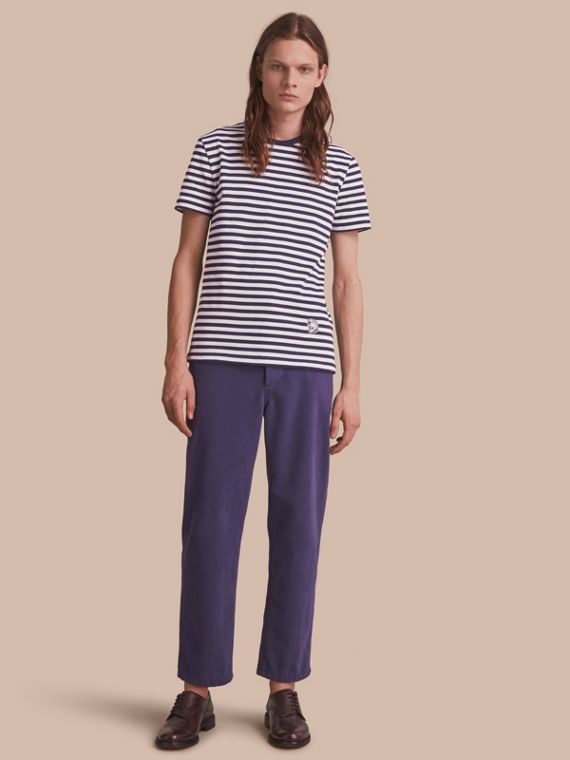 Breton Stripe Cotton T-shirt with Pallas Helmet Motif in Navy/white