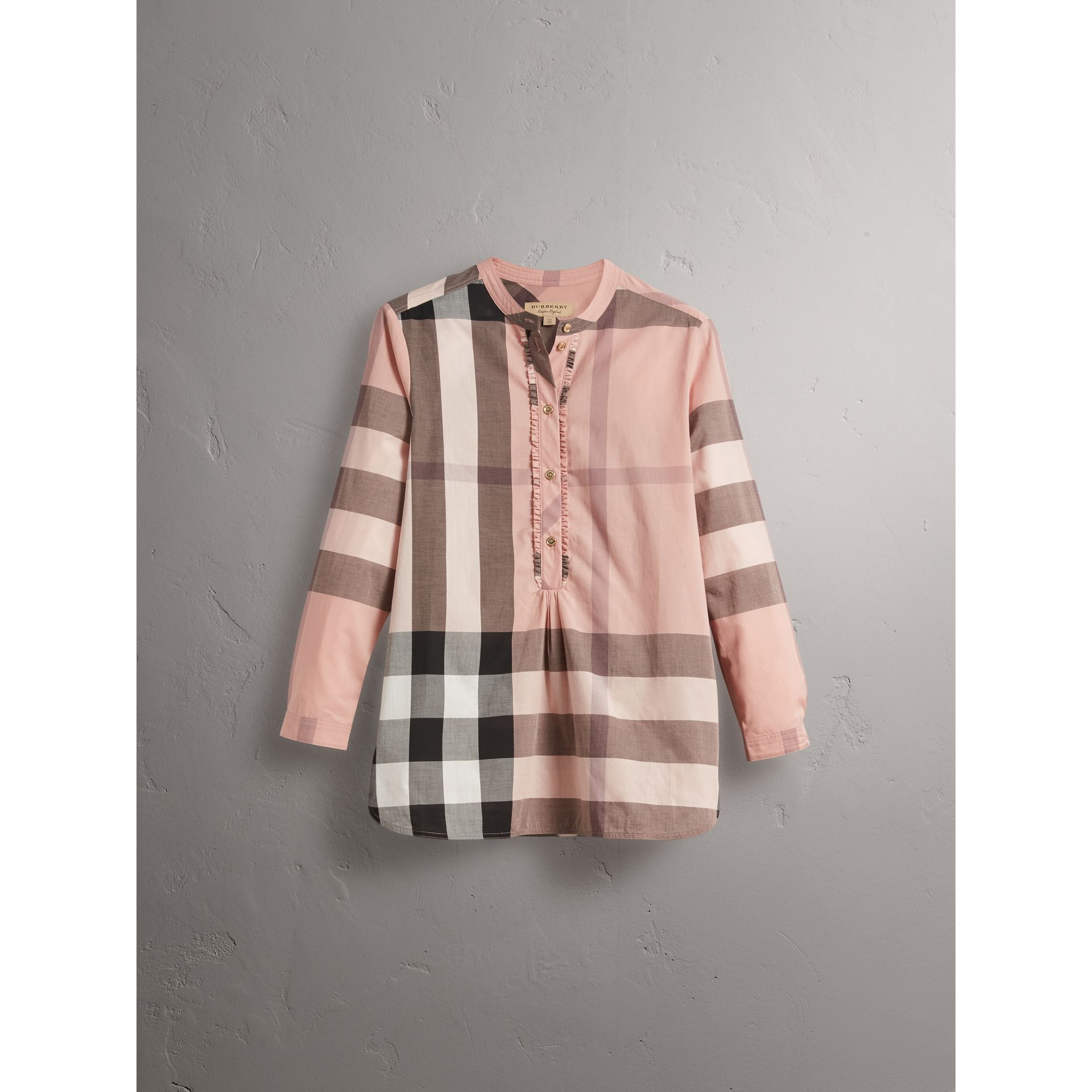 Check Grandad Collar Shirt in Antique Pink - Women | Burberry - gallery image 3