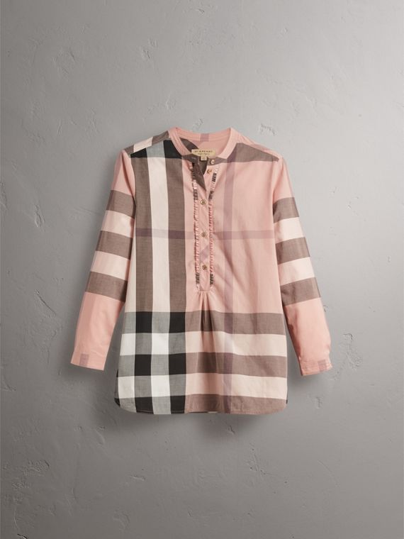 Check Grandad Collar Shirt in Antique Pink - Women | Burberry - cell image 3