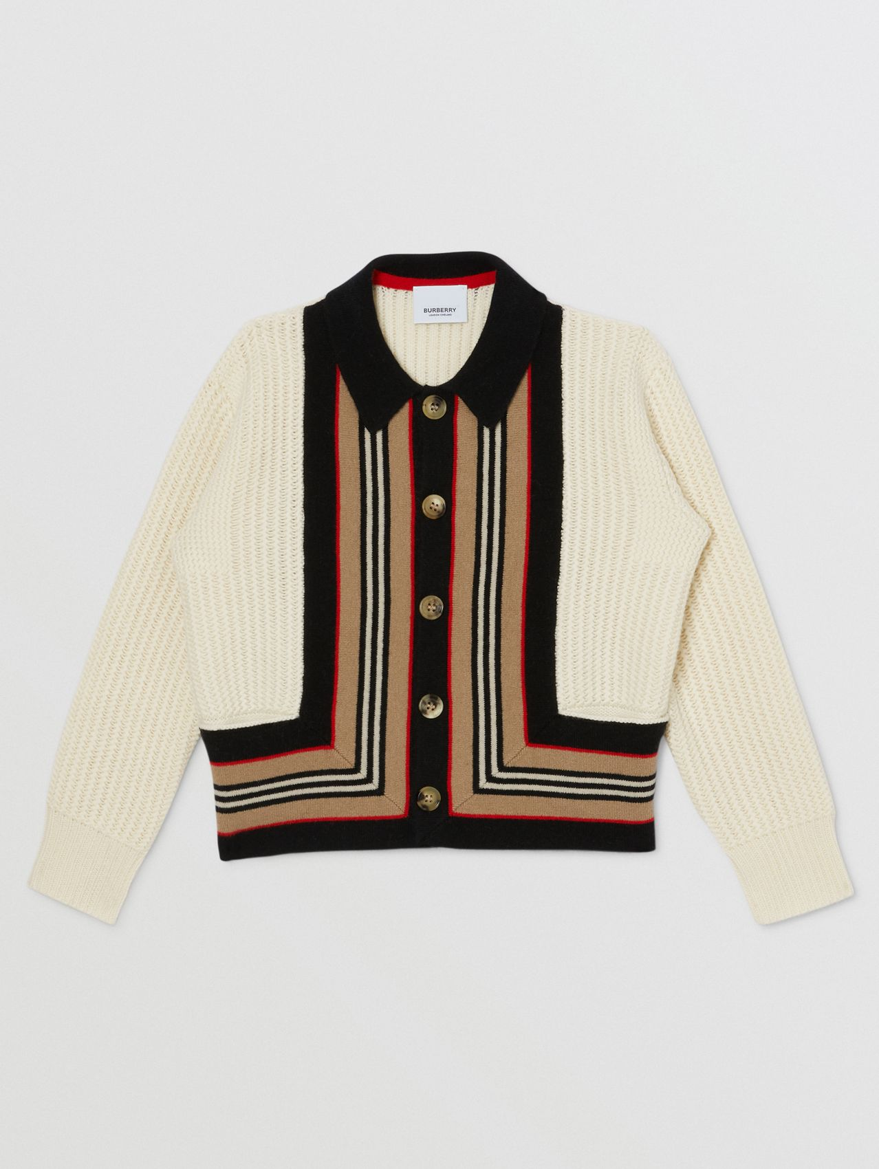 Icon Stripe Detail Wool Cashmere Cardigan in Natural White