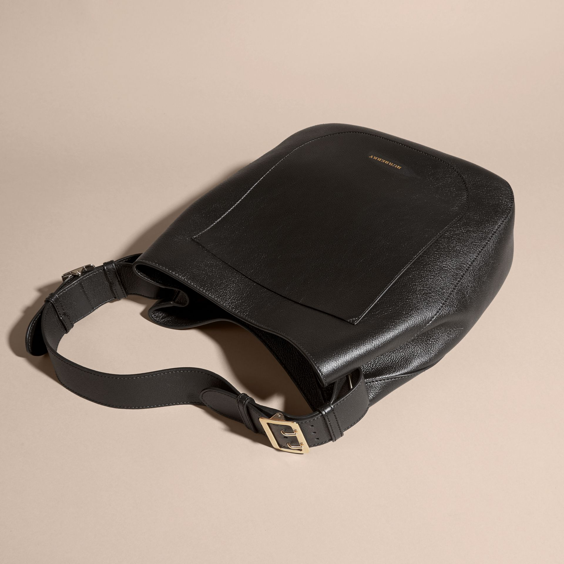 Textured Leather Shoulder Bag in Black - gallery image 7