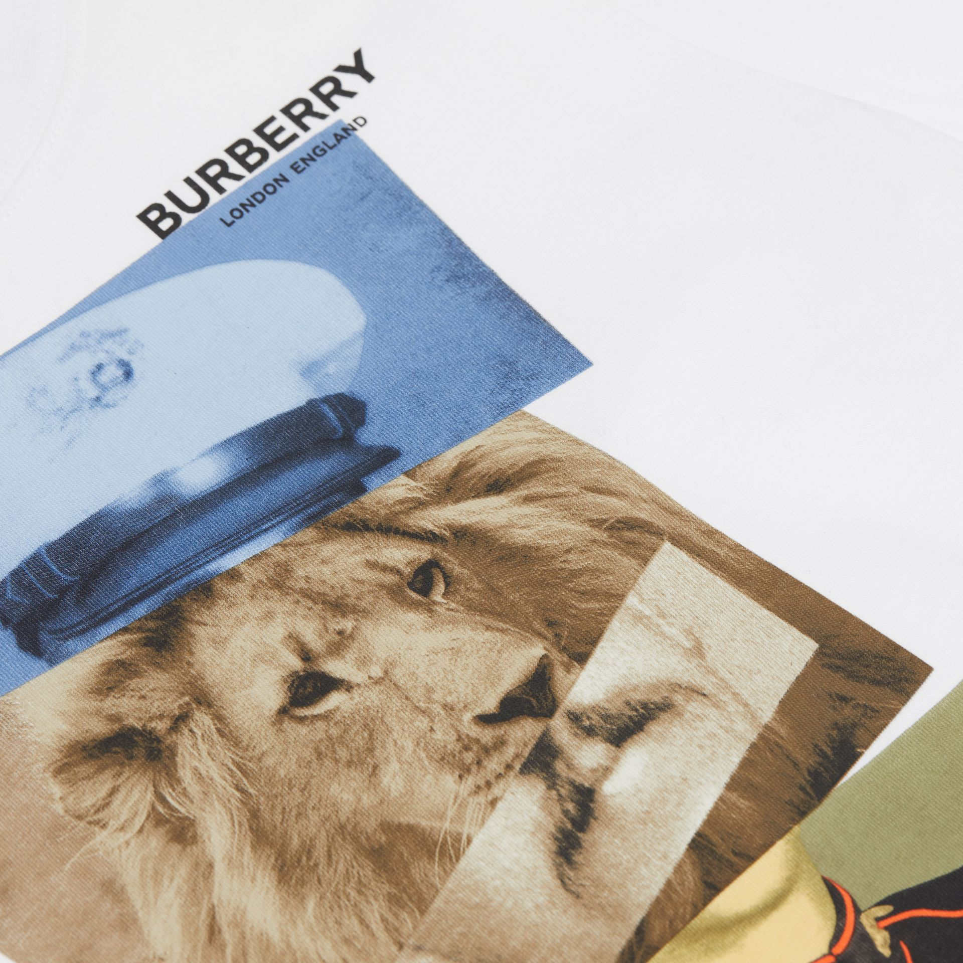 Collage Print Cotton T-shirt in White | Burberry United States - gallery image 4
