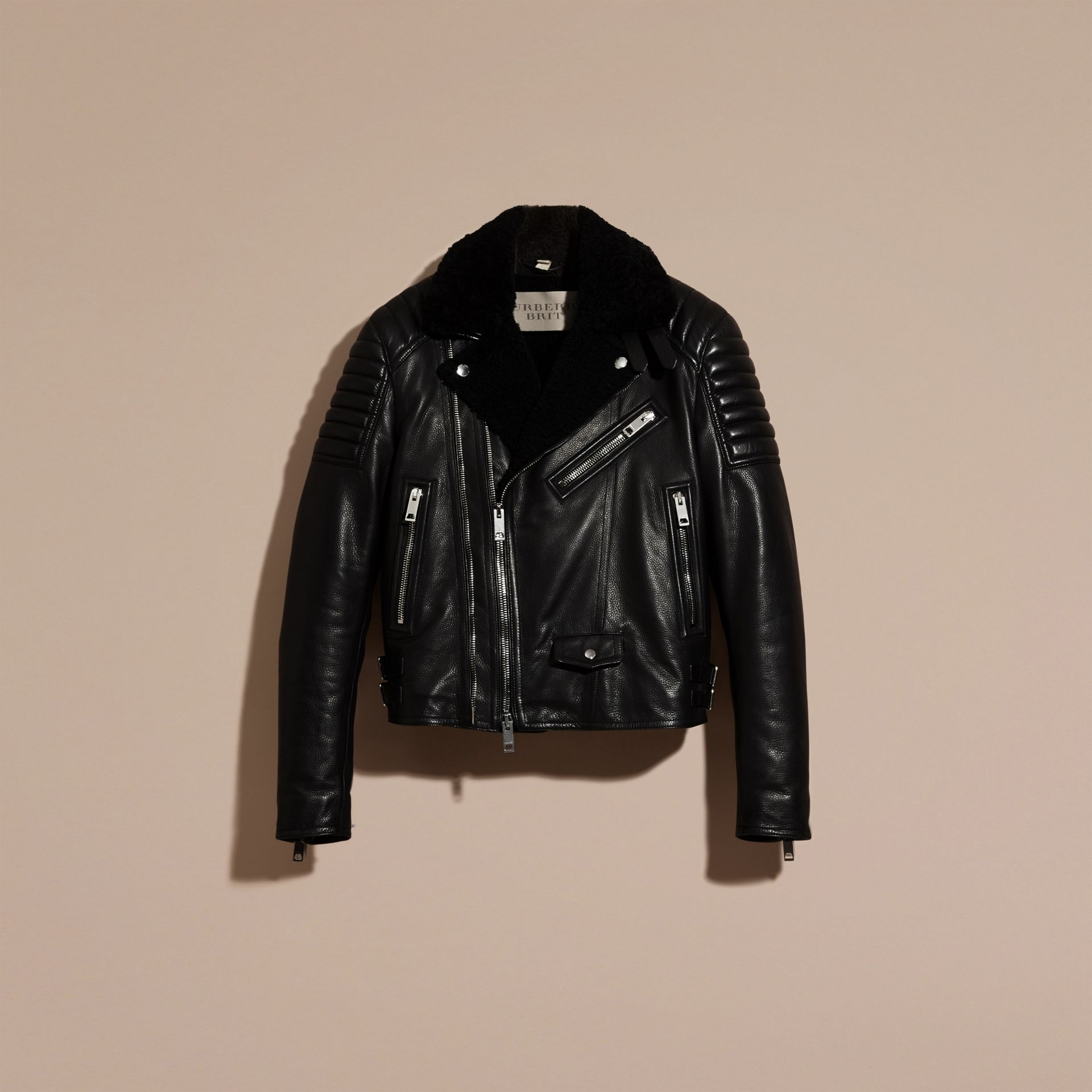 Black Shearling-lined Leather Biker Jacket - gallery image 4