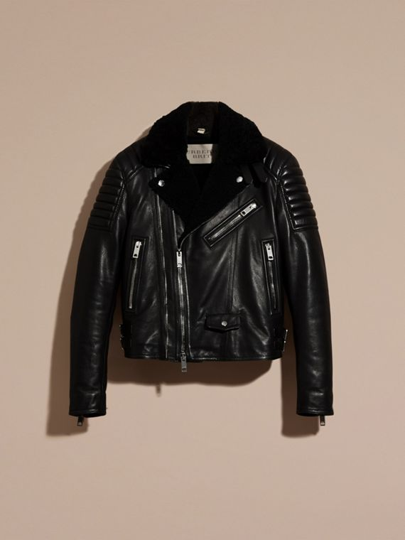 Black Shearling-lined Leather Biker Jacket - cell image 3