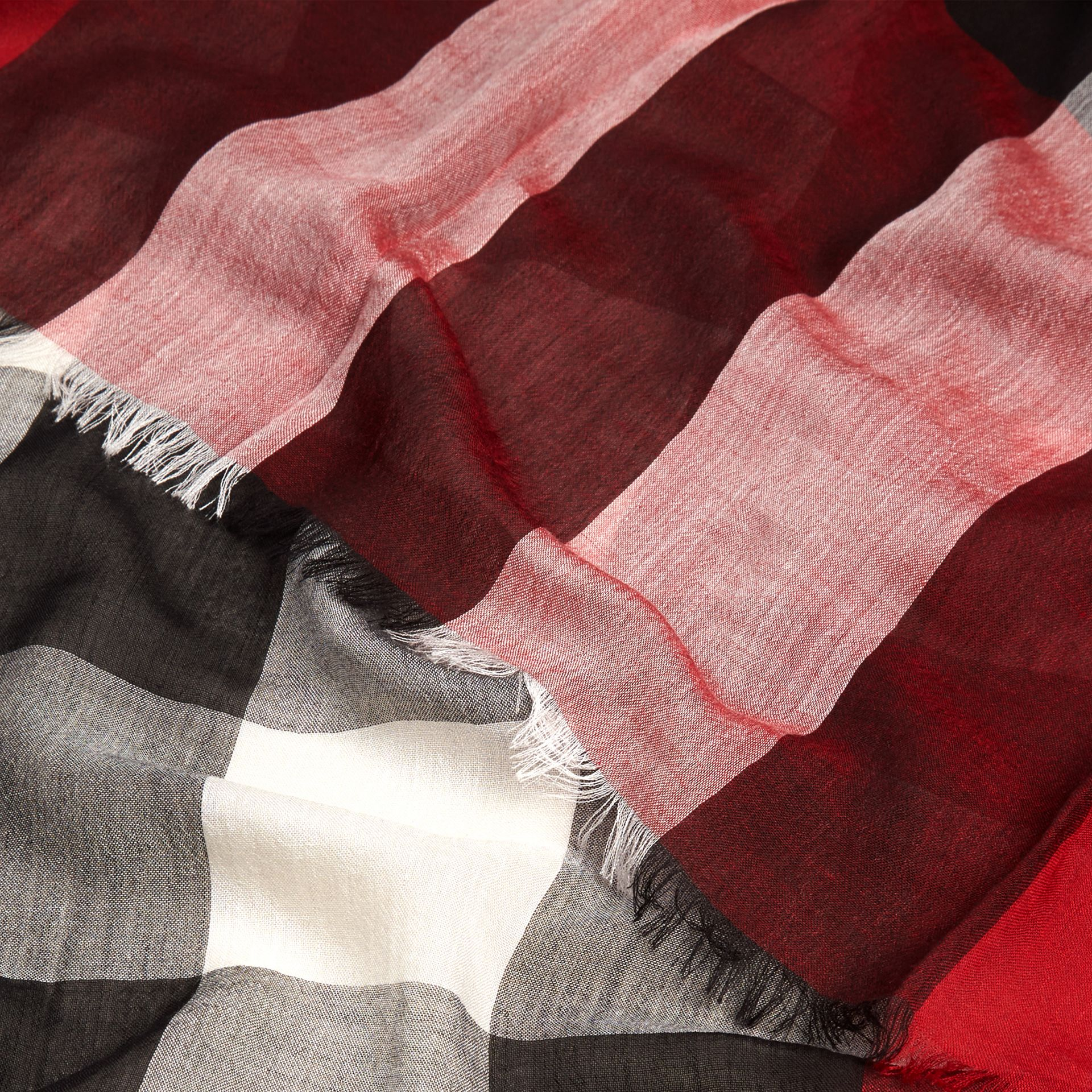 Parade red Check Modal Cashmere and Silk Scarf Parade Red - gallery image 2