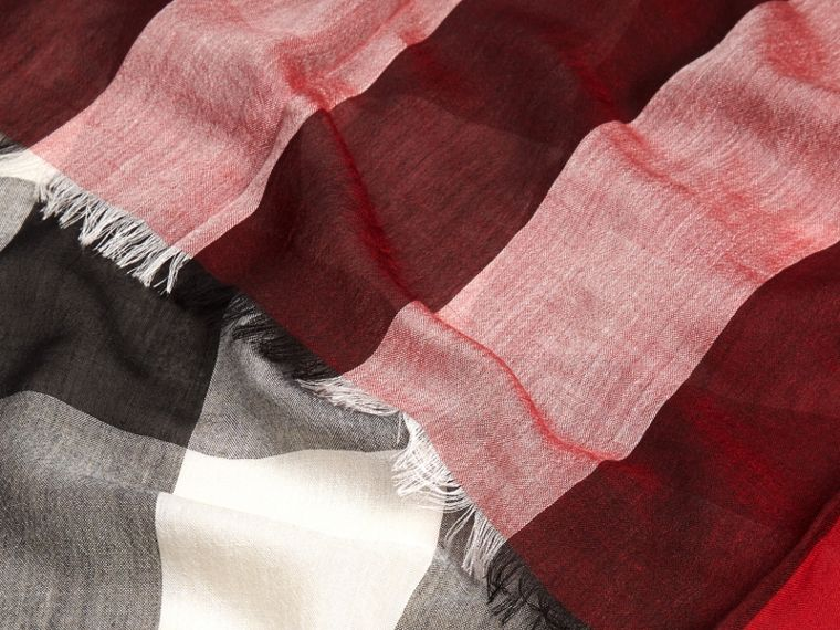 Parade red Check Modal Cashmere and Silk Scarf Parade Red - cell image 1
