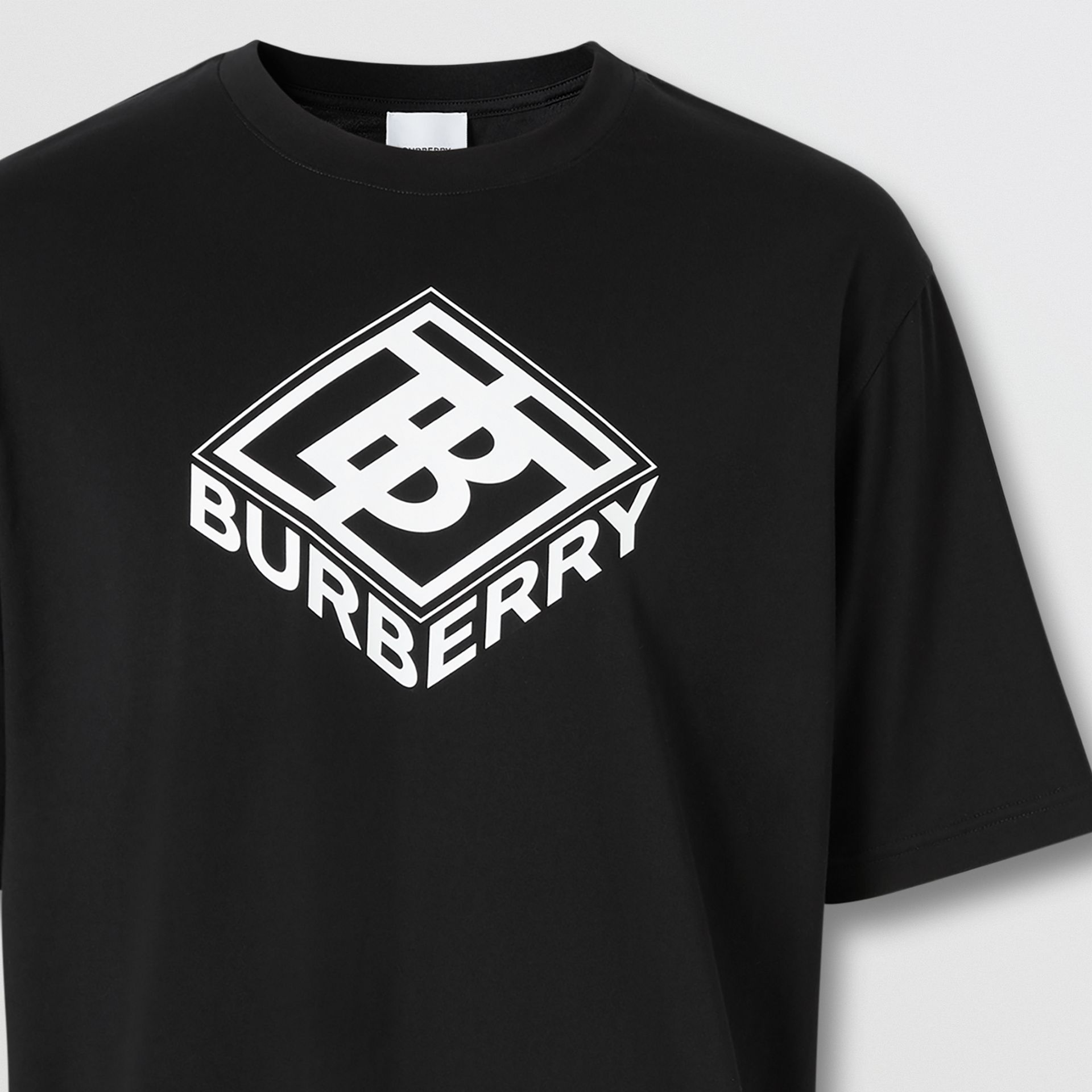 Logo Graphic Cotton T-shirt in Black - Men | Burberry - gallery image 2