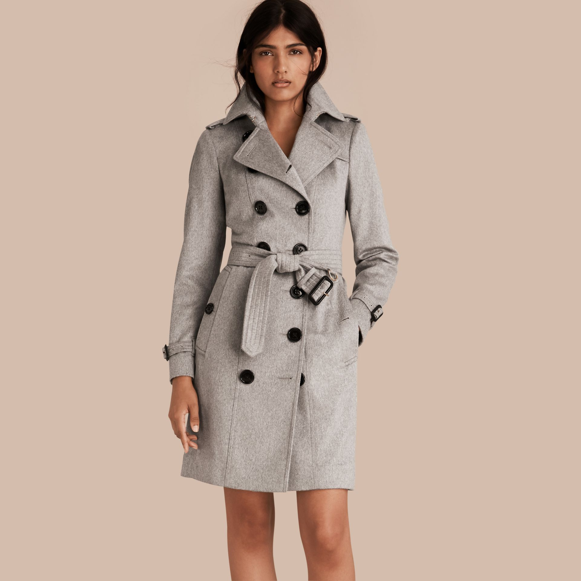 Pale grey Sandringham Fit Cashmere Trench Coat Pale Grey - gallery image 1