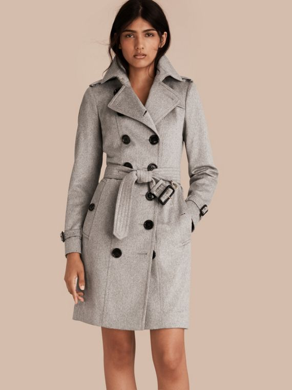 Sandringham Fit Cashmere Trench Coat Pale Grey