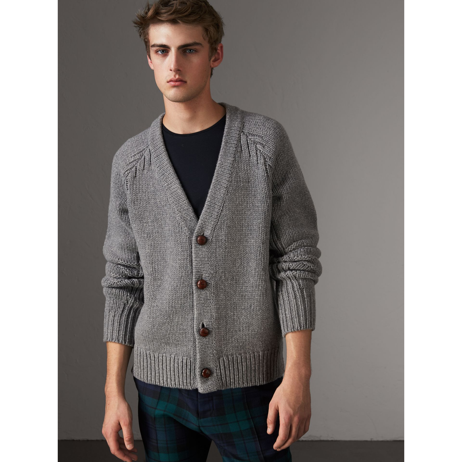 Chunky Knit Wool Cashmere Cardigan in Mid Grey Melange - Men | Burberry - gallery image 0