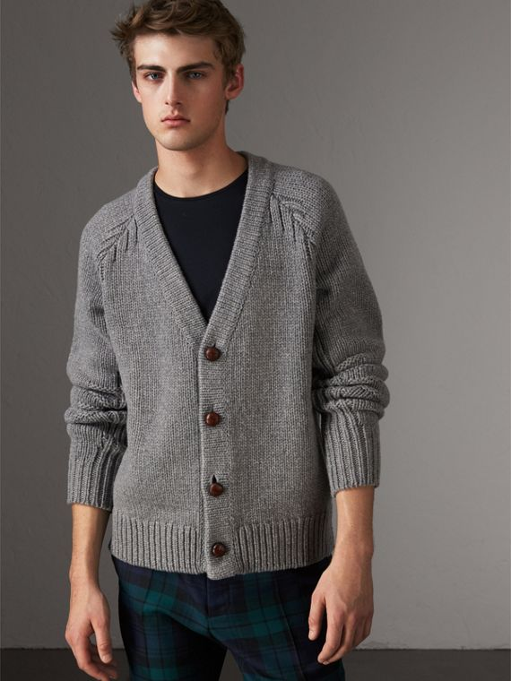 Chunky Knit Wool Cashmere Cardigan in Mid Grey Melange