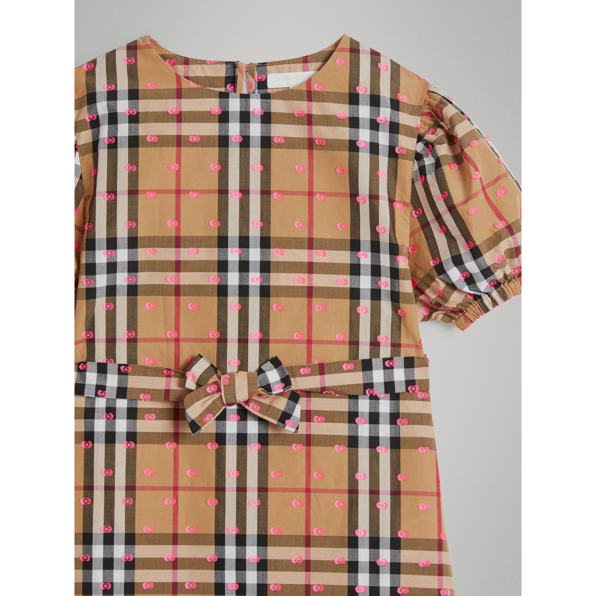 Gathered Sleeve Vintage Check Cotton Dress in Antique Yellow - Girl | Burberry - gallery image 4