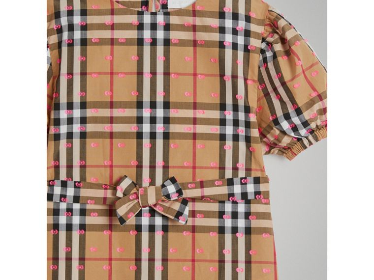 Gathered Sleeve Vintage Check Cotton Dress in Antique Yellow - Girl | Burberry - cell image 4