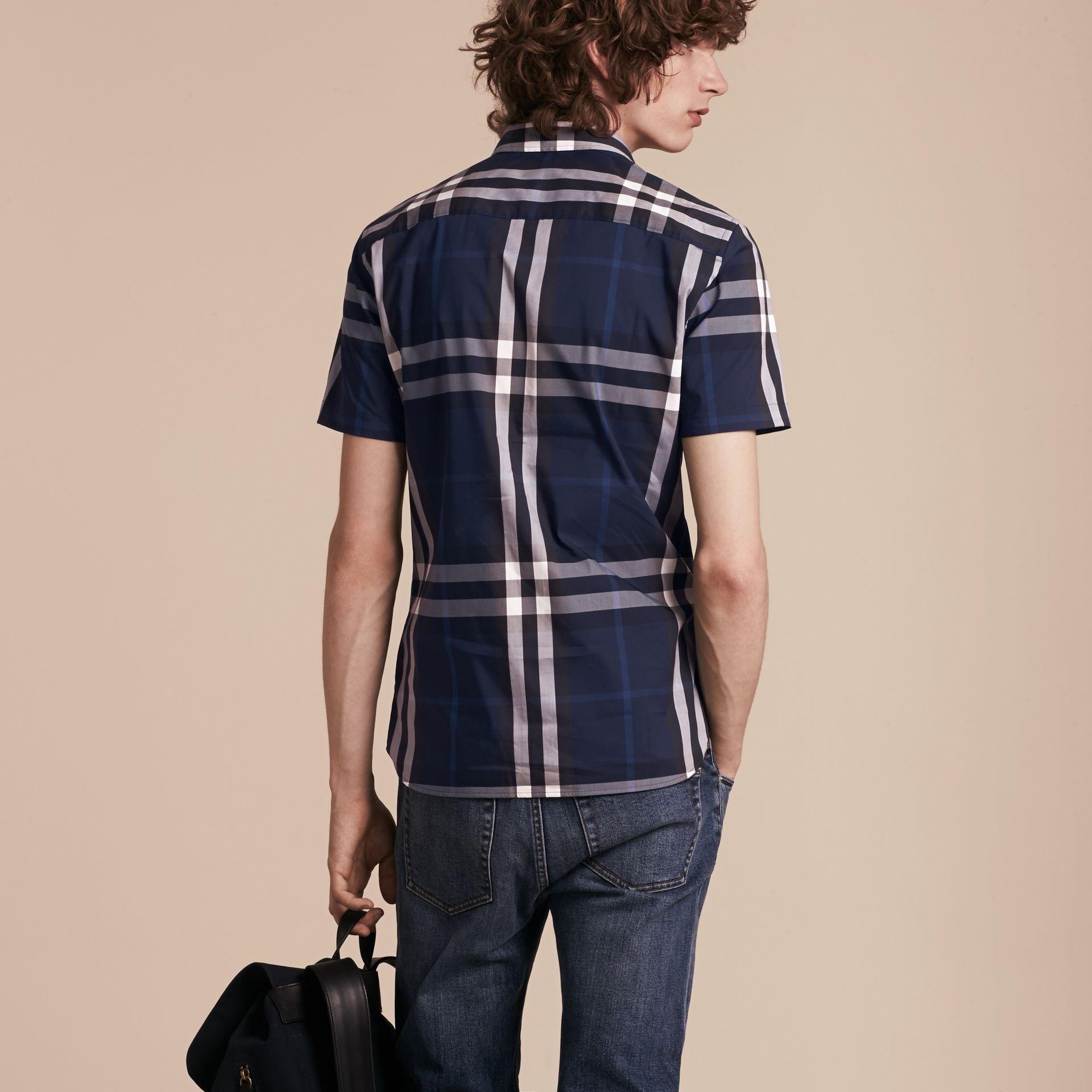 Short-sleeved Check Stretch Cotton Shirt in Indigo Blue - gallery image 3