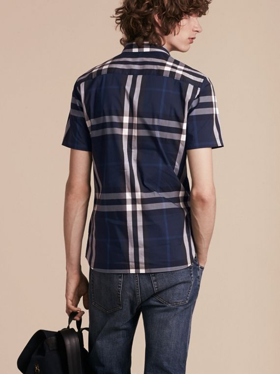 Short-sleeved Check Stretch Cotton Shirt Indigo Blue - cell image 2