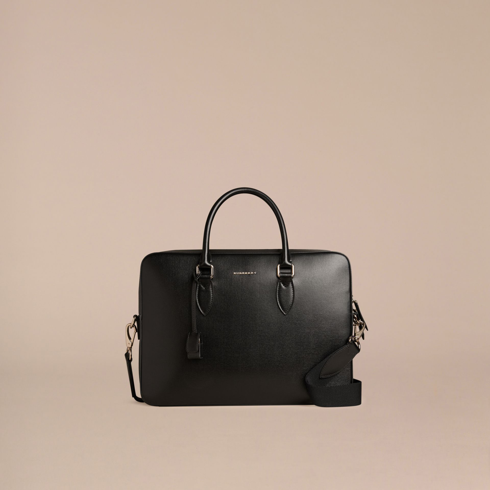 Black Medium London Leather Briefcase Black - gallery image 7