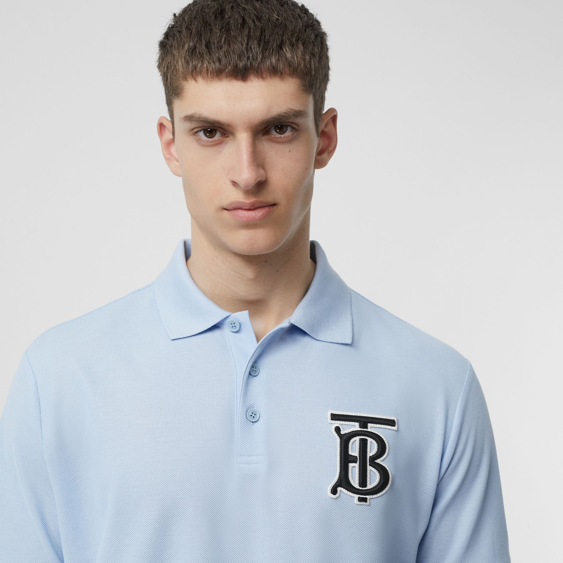 Monogram Motif Cotton Piqué Polo Shirt in Pale Blue - Men | Burberry - gallery image 1