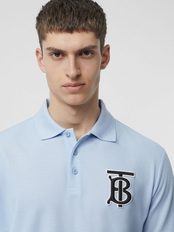 Monogram Motif Cotton Piqué Oversized Polo Shirt in Pale Blue - Men | Burberry Australia - cell image 1