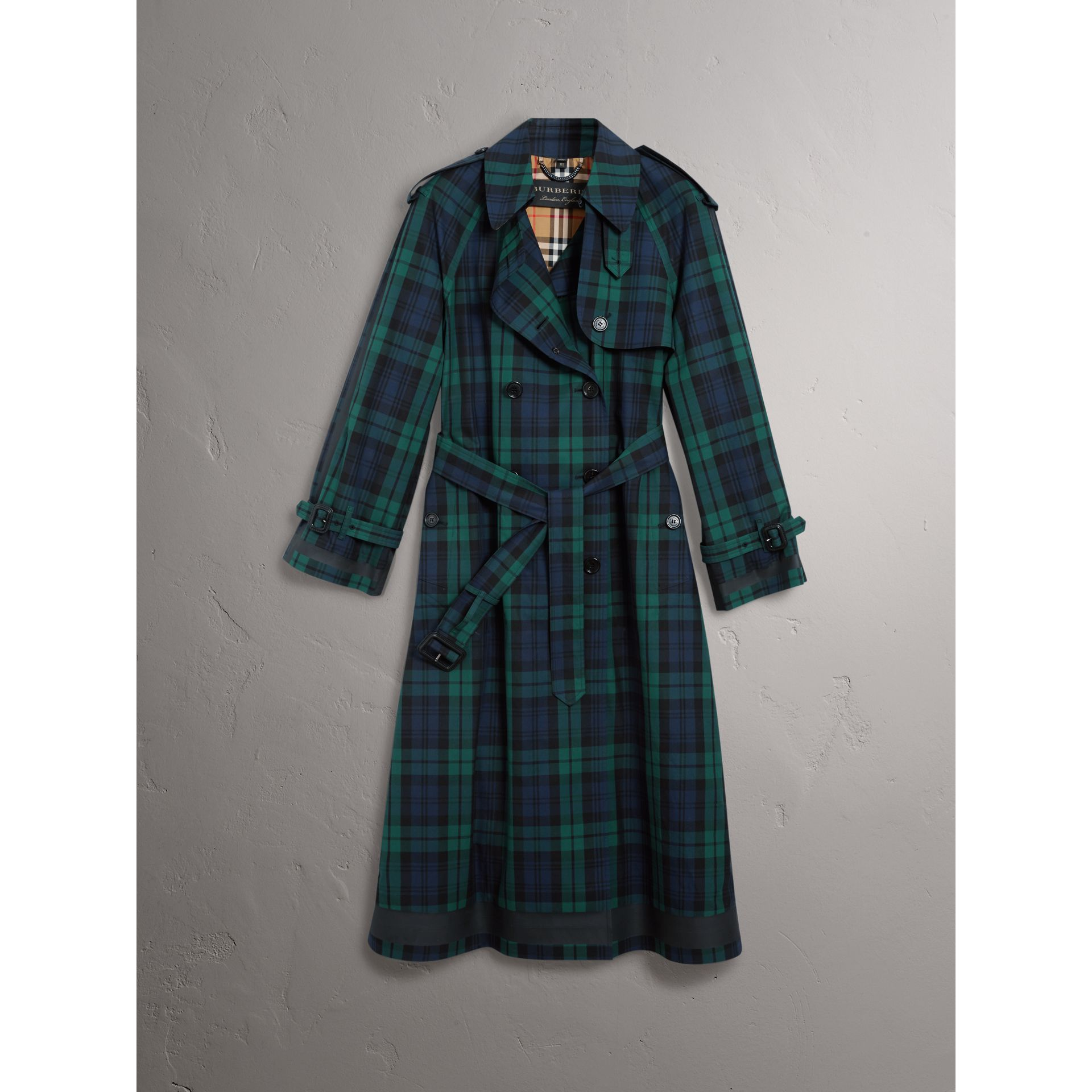 Tartan Cotton Gabardine Trench Coat in Bright Navy - Women | Burberry - gallery image 3