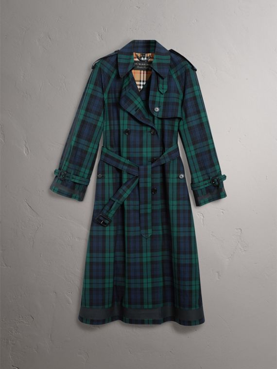Trench coat in gabardine di cotone con motivo tartan (Navy Intenso) - Donna | Burberry - cell image 3