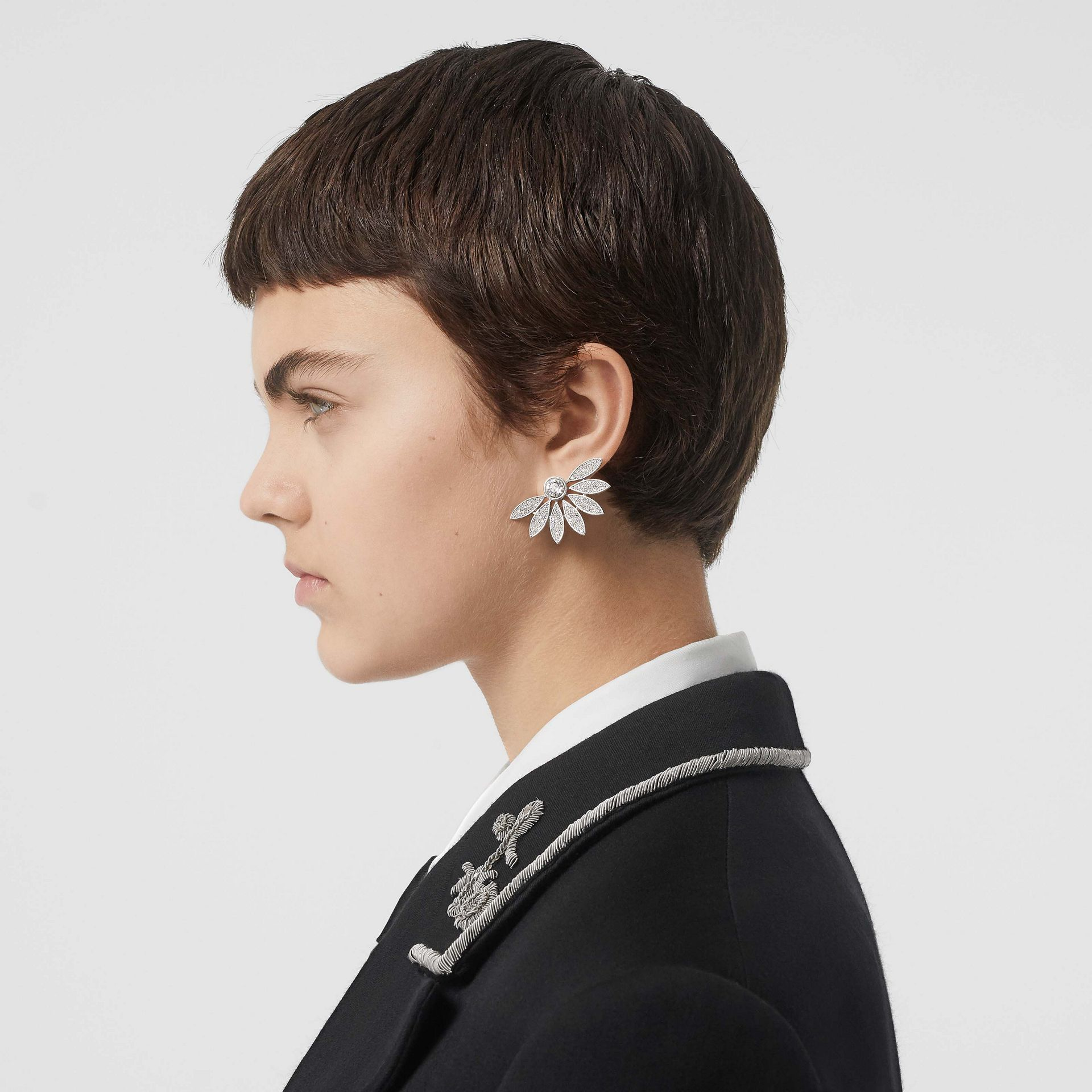 Crystal Half-daisy Stud Earrings - Women | Burberry - gallery image 2