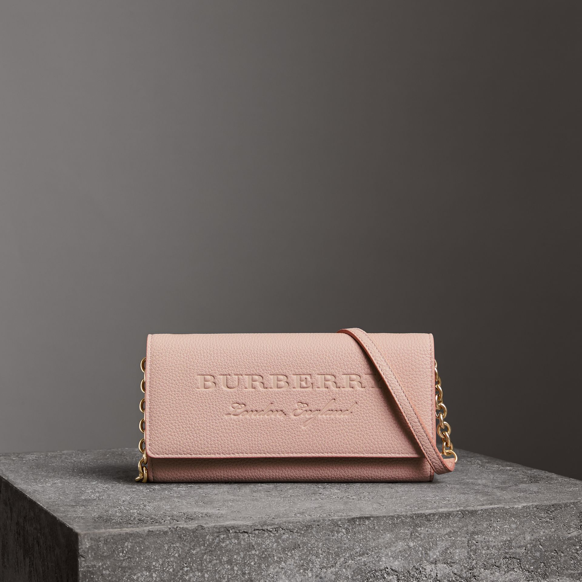 Embossed Leather Wallet with Chain in Pale Ash Rose - Women | Burberry - gallery image 4