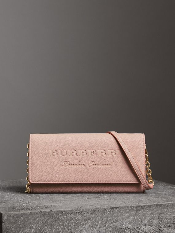 Embossed Leather Wallet with Chain in Pale Ash Rose