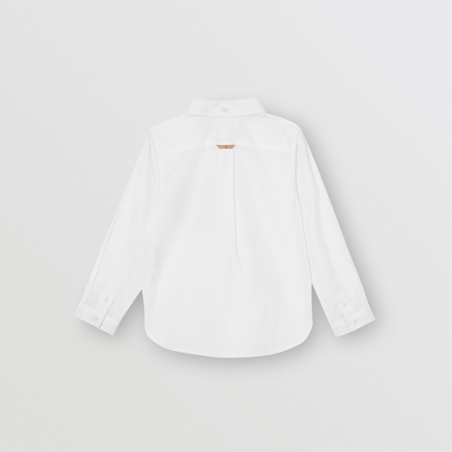 Check Detail Cotton Oxford Shirt in White - Boy | Burberry - gallery image 3